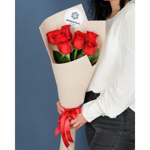 Купить на заказ Заказать Букет из 7 роз с доставкой по Шымкенту  с доставкой в Шымкенте